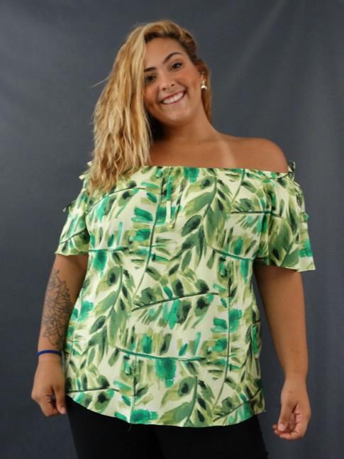 Blusa Ciganinha Detalhe Laço Plus Size em Viscose Verde Folhas [2012171]