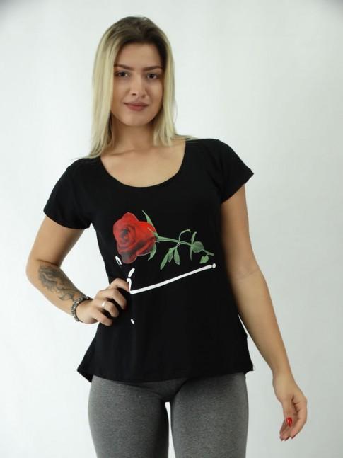 T-shirt Mullet em Viscolycra Rosa com Fe
