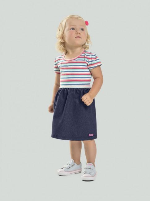 Vestido Infantil em Cotton Jeans C/ Listras [2008203]