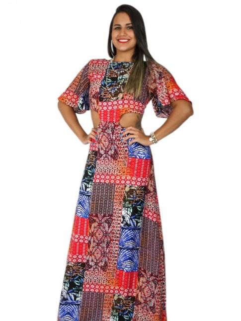 Vestido longo de viscose com recorte nas costas estampa étnica color