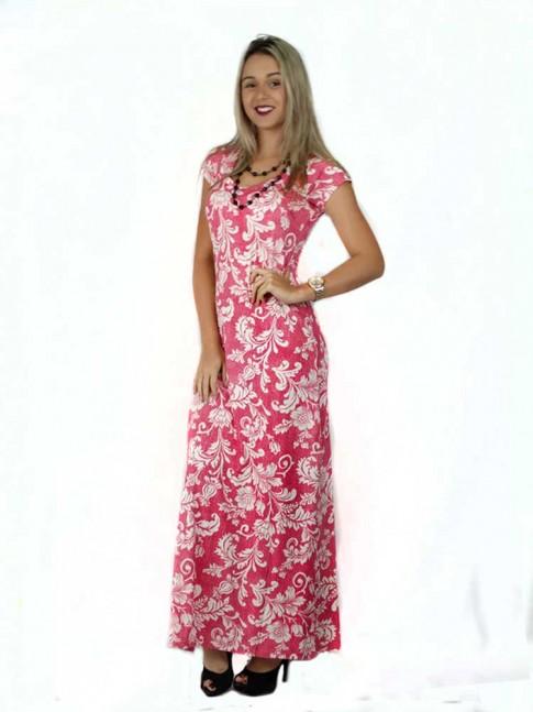 314 -  Vestido Longo com Fenda em Visco Rosa com Flores 632