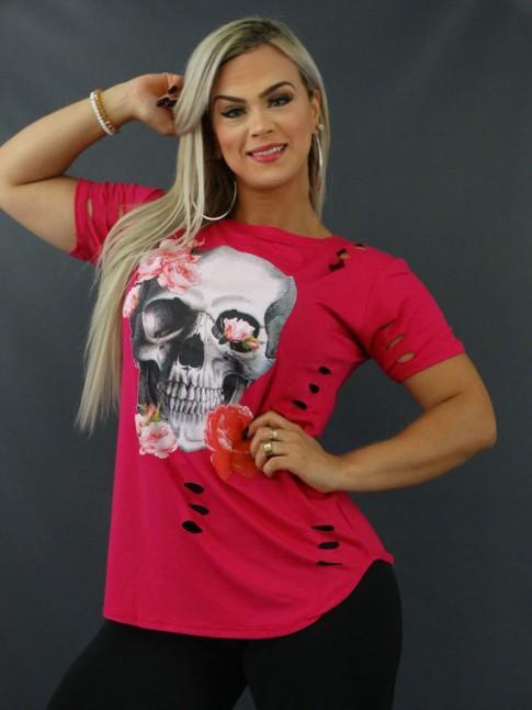 Blusa T-shirt Mullet Sobre Legging Corte à Laser em Viscolycra Rosa Caveira Mexicana [2103169]