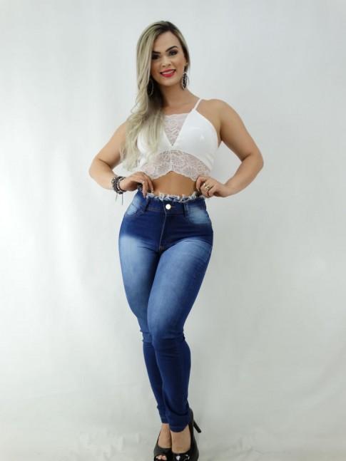 Calça Jeans Cós Desfiado com Stretch [2003043]