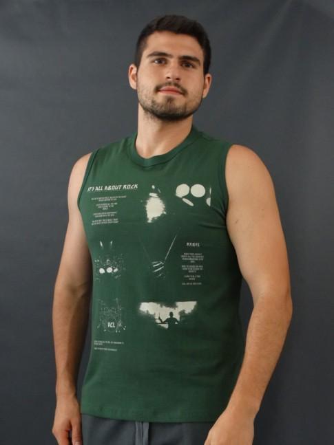 Camiseta Masculina Regata Estampada About Rock Paint Verde [2010032]
