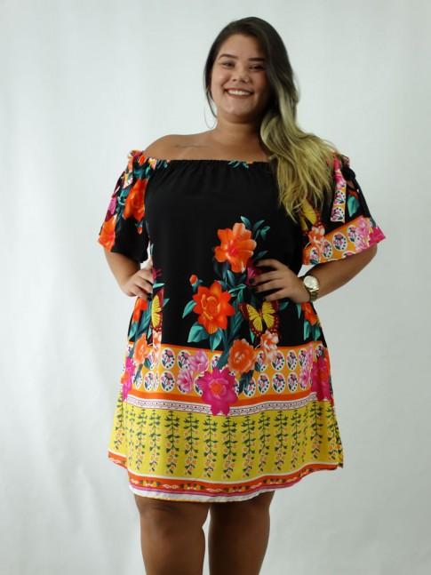 Vestido em Viscose Ciganinha Plus Size Estampado Preto Flores Borboletas [1902084]