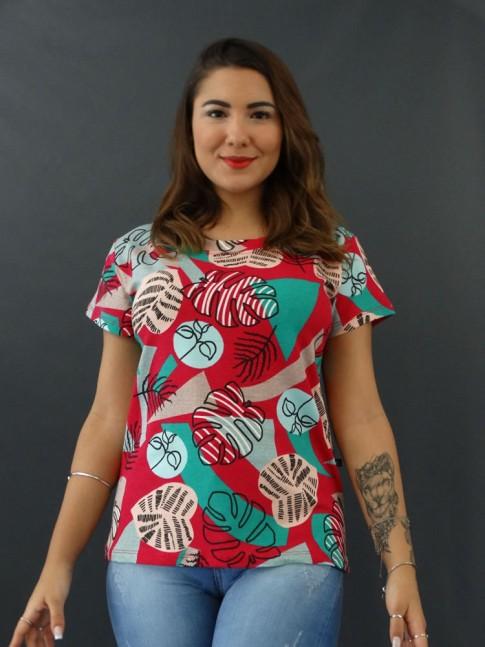 T-shirt Estampada em Viscolycra Magenta Folhas [2012020]