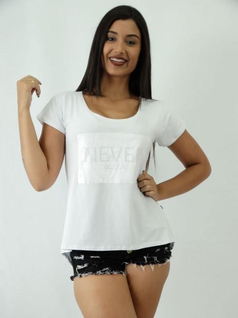 T-shirt em Viscolycra estilo Mullet Estampa Never