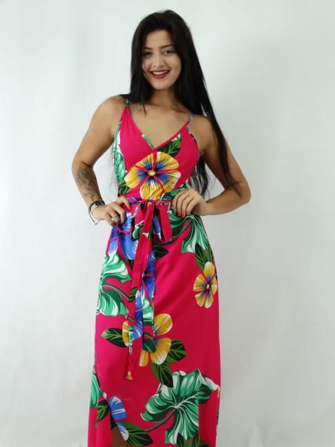 Vestido Envelope em Viscose Magenta Floral