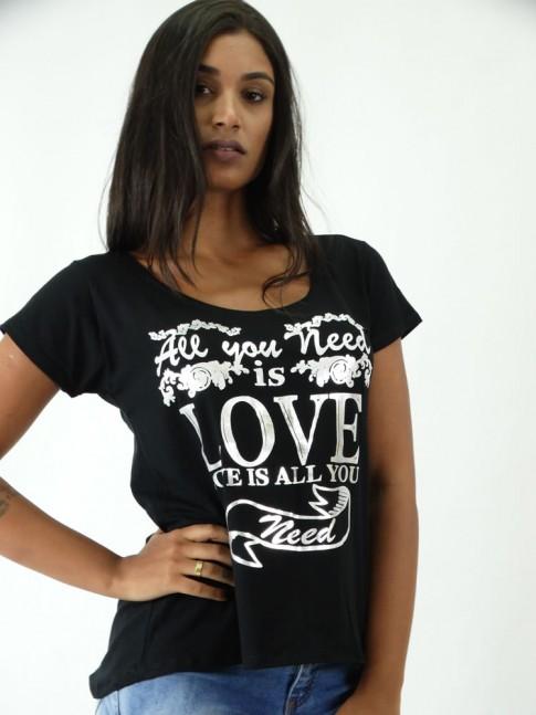T-shirt em Viscolycra Mullet Love Dizer