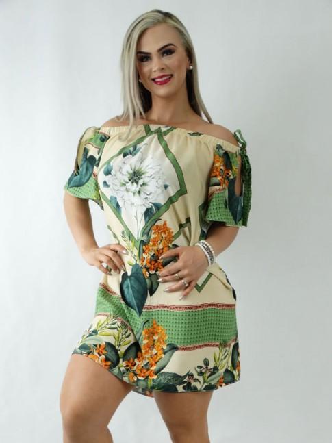 Vestido em Viscose Ciganinha Bege Geometrico Flores [1911333]