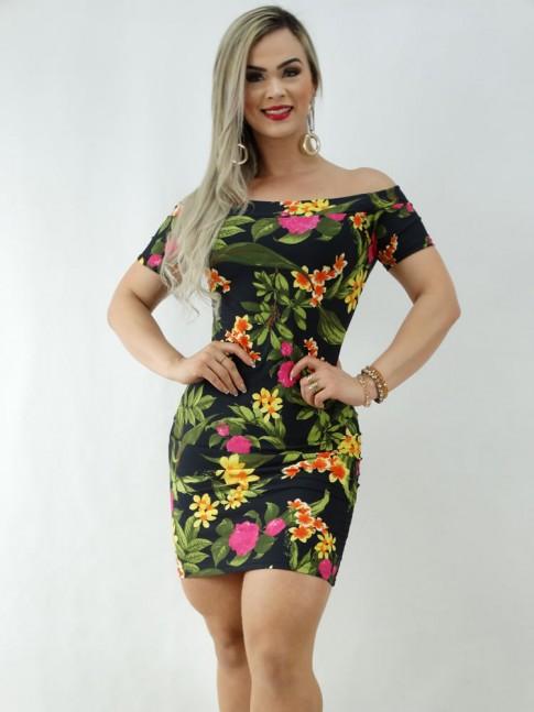 Vestido em Suplex com Manguinha Ombro a Ombro Preto Folhas e Flores [2003056]