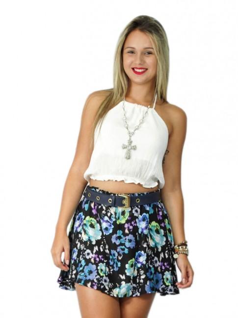 Short-saia de viscose estampa floral dark