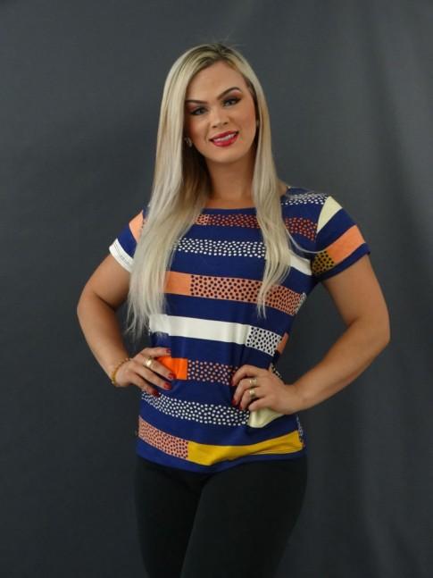 T-shirt Estampada em Viscolycra Azul Marinho Listras Colors Poá [2101018]
