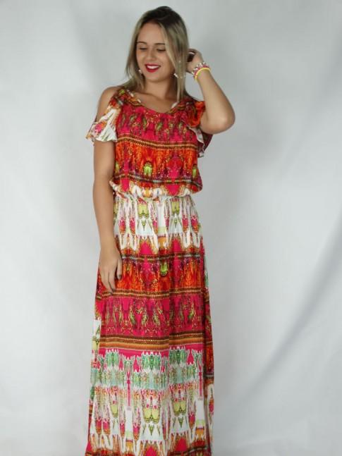 Vestido de viscose longo aberto nas costas estampa étnica vermelha