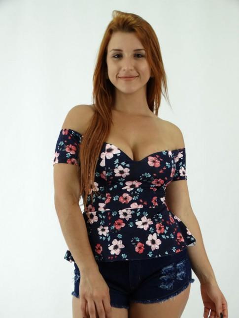 Blusa em Suplex Ombro a Ombro Azul escuro Florido