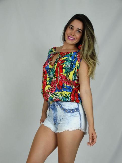 308 - Regata em Viscose Alça larga amarração no Busto Estampa Palmeiras Multicolor
