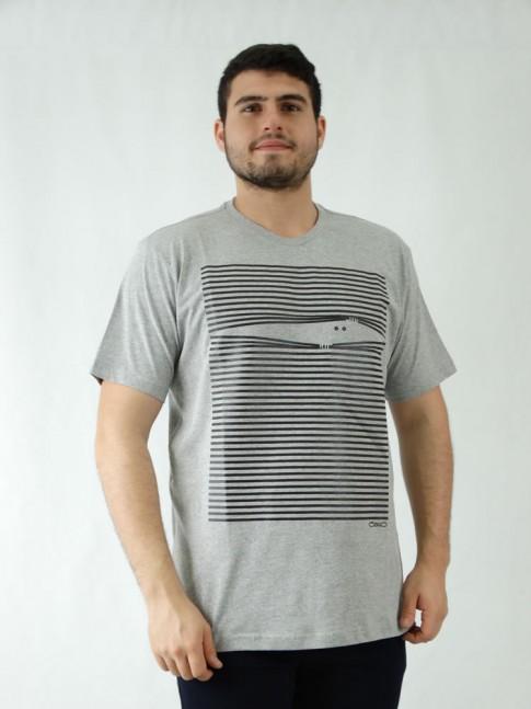 Camisa Masculina em Malha de Algodão Cinza Estampa Listras [1907188]