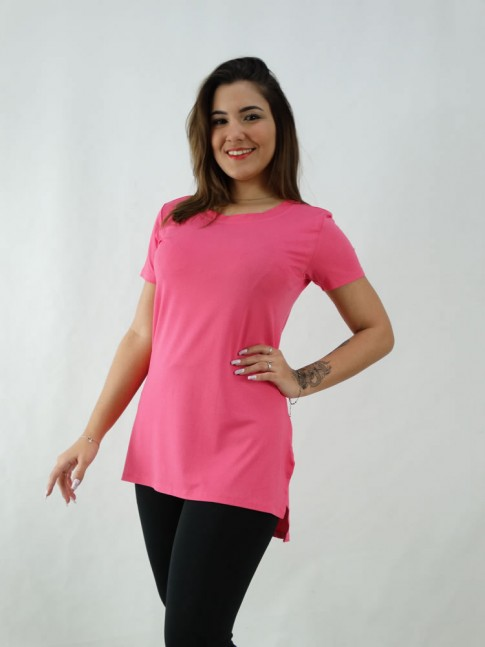 T-Shirt Estilo Mullet em Viscolycra Rosa Pink [2008062]