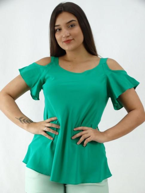 Blusa em Viscose Evase Ombro Vazado Verde [2003027]