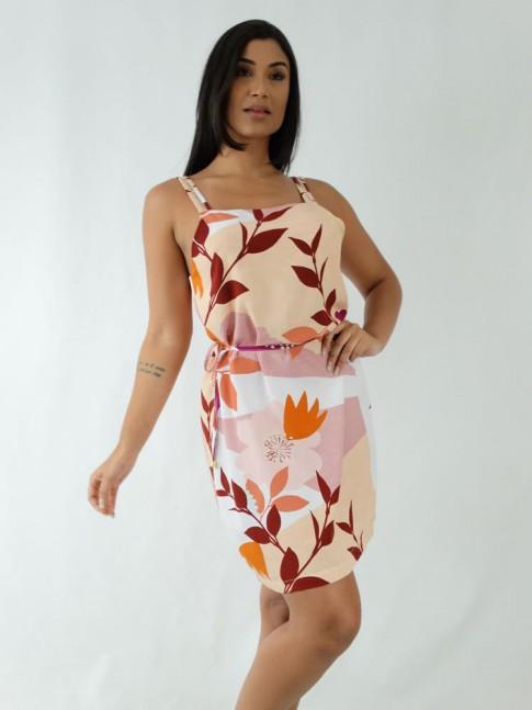 Vestido em Viscose Decote Quadrado de Alça Trabalhada Bege Flores Detalhes Rose [1912030]