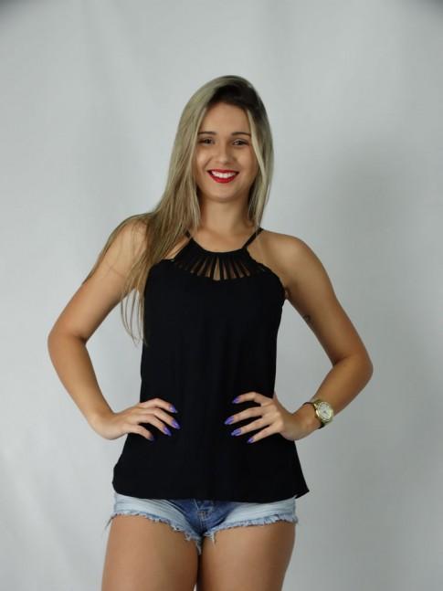 100 - Blusa  Evase em Visco Faille  Raio de Sol Lisa