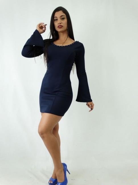 Vestido em Jacquard Estilo Tubinho Manga Longa Flare Azul Marinho