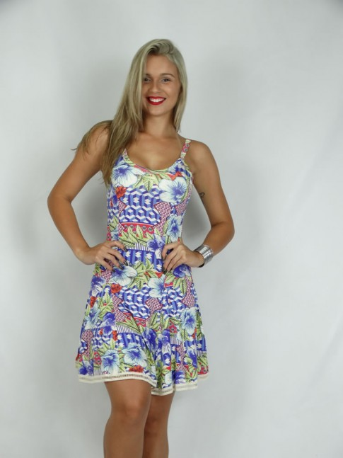 314 - Vestido em Visco Lycra com Aplicação de Renda Estampa Flores Color 634