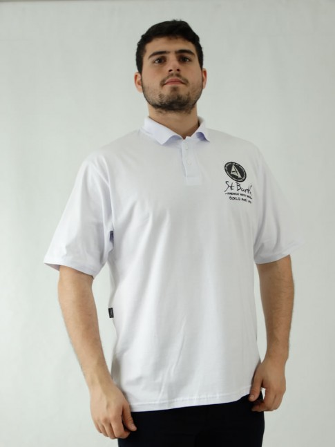 Camisa Polo Masculina em Malha Branco Bordado [1907194]