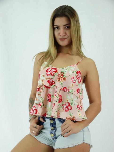 Blusa com Sobreposicao em Viscose Rose Flores