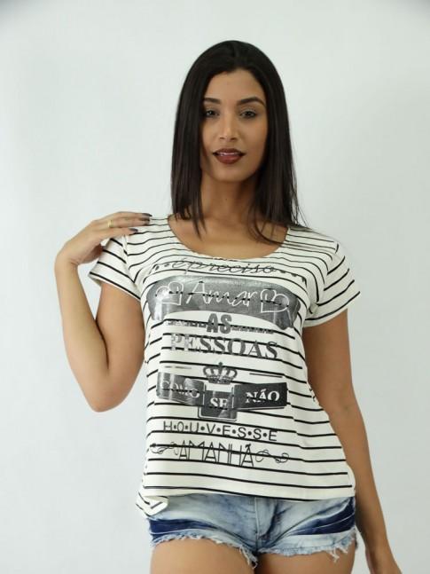 T-shirt em Viscolycra estilo Mullet Estampa E preciso Amar as Pessoas