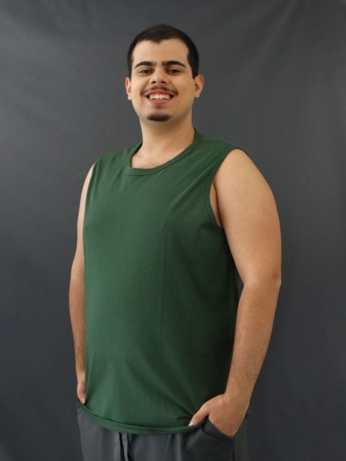 Camiseta Masculina Regata Machão Basic Plus Size Verde [2010131]