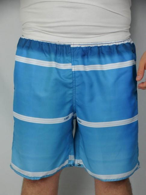 312-Short masculino em microfibra sublimado com elástico e cadarço azul listrado branco