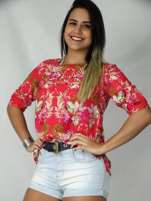 Blusa de viscose com manga estampa floral vermelha