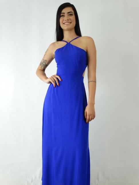Vestido Longo em Viscose Frente Única Azul Caneta [1910150]