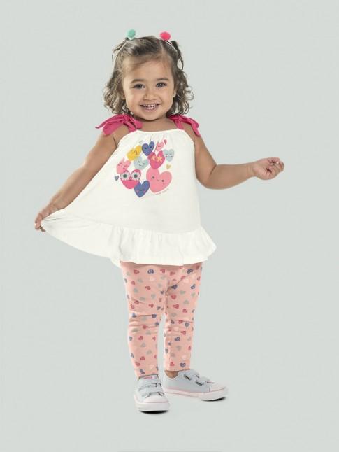 Conjunto Infantil Feminino Blusa Malha + Legging Cotton Lycra Off White e Rosé Coracões [2008206]