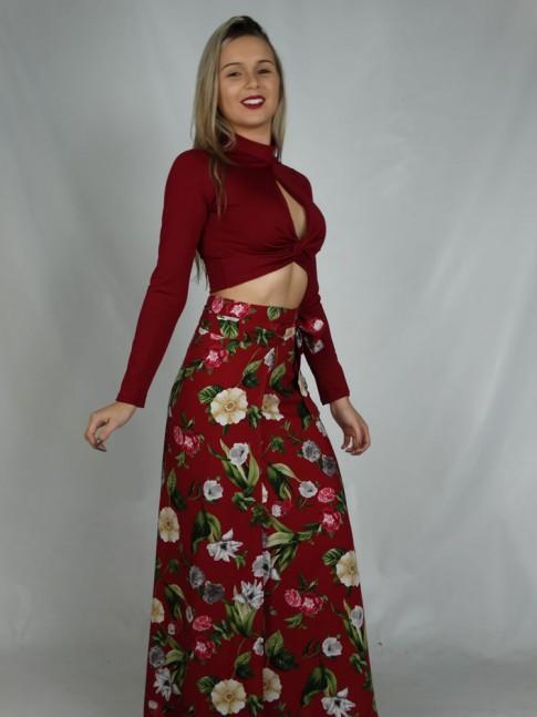 Saia Longa Visco Amarracao Vinho Flores