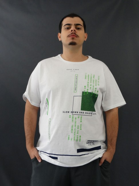 T-shirt Masculina Estampada Good Vibes Plus Size [2010022]