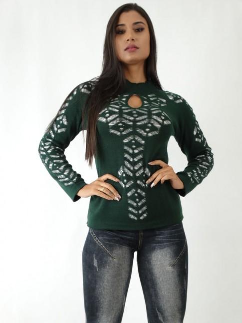 Blusa em Tricot com Detalhes Vazados Verde Forro Branco [1904131]