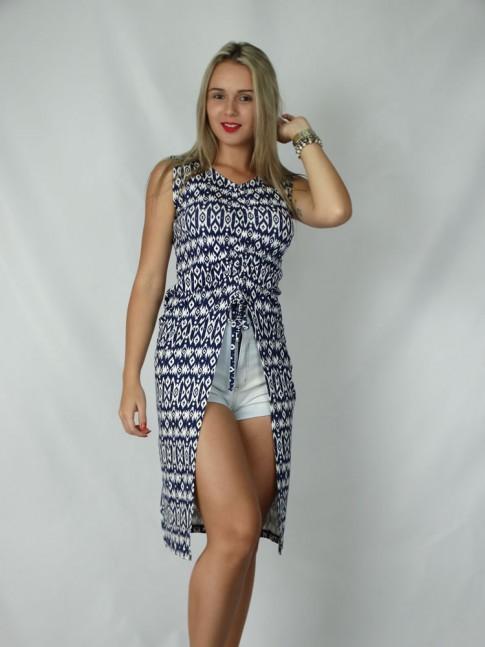 Blusa veste para usar com short estampa étnica azul-marinho