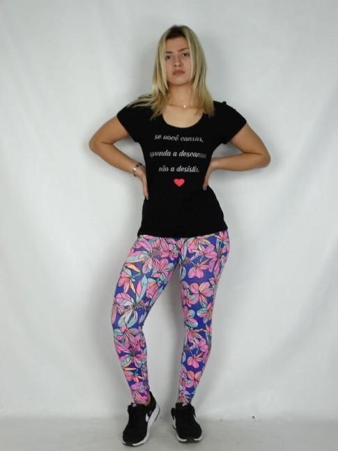 Calça Legging em Suplex Rosa Flor