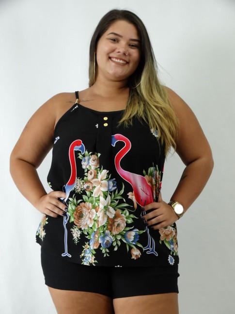 Blusa em Viscose de Alca com Detalhes e Botoes Plus Size Preto Flamingos Flores [1903009]
