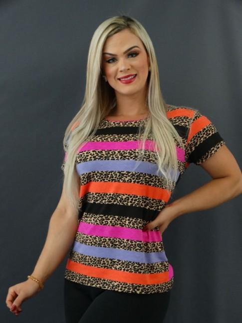 T-shirt Estampada em Viscolycra Onça Listras Rosa, Preto e Coral [2101012]