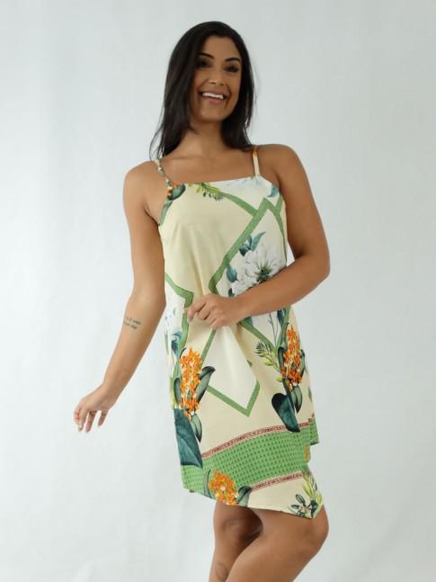 Vestido em Viscose de Alça Fina Assimétrico Bege Geométrico Flores [1912006]