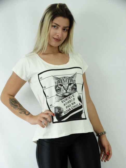 T-shirt Mullet em Viscolycra Gatinho Identificado