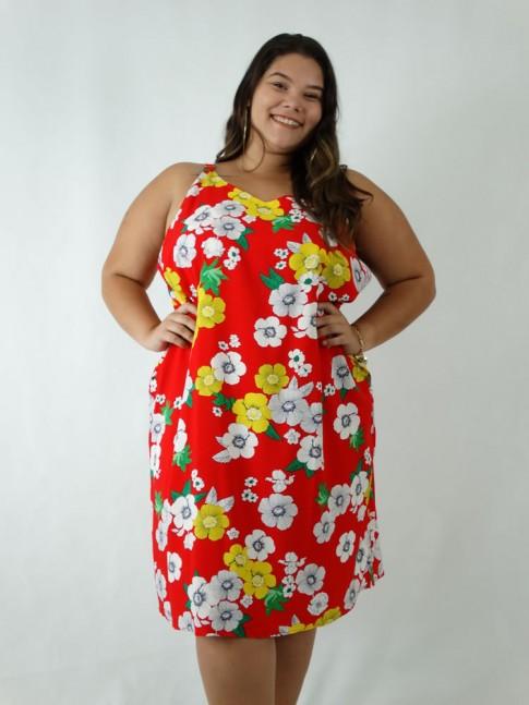 dffb2f6a7c99 Vestido em Viscose Decote V Alca Larga Plus Size Vermelho Flores [1903043]