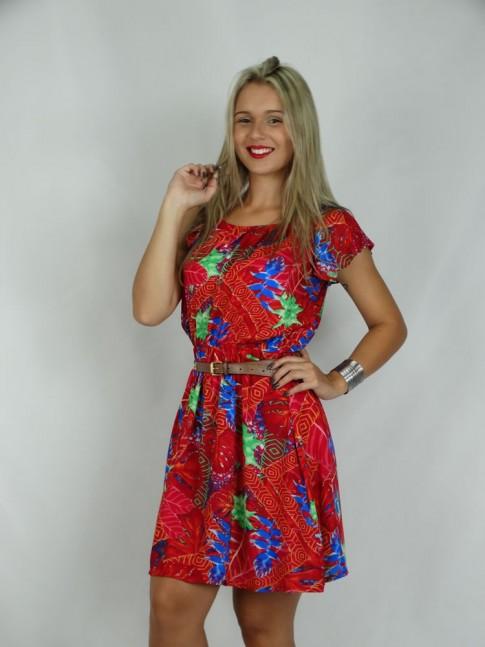 308- Vestido Ciganinha em Viscose Vermelho com estampa floral