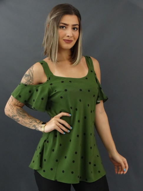 Blusa Evase Ombro Vazado em Viscose Verde Musgo Poa [2010114]