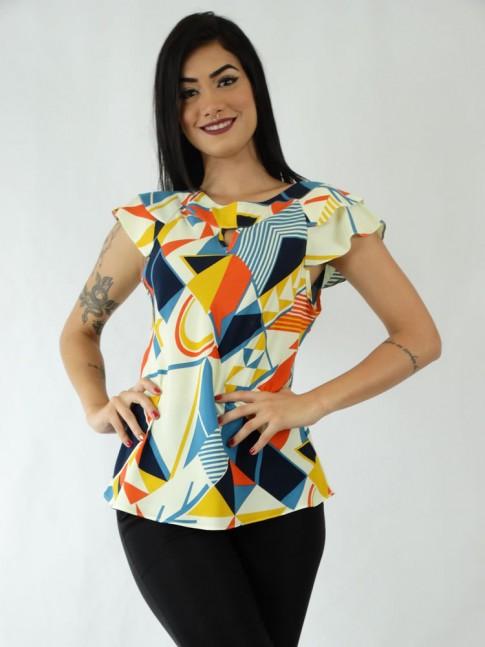 Blusa em Viscose Detalhe Gota Babado Sobreposto Amarelo Geométrico Colors [1910281]