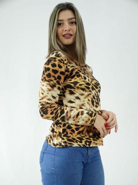 Blusa Manga Longa em Viscolycra Leopardo Caramelo Preto [2005020]