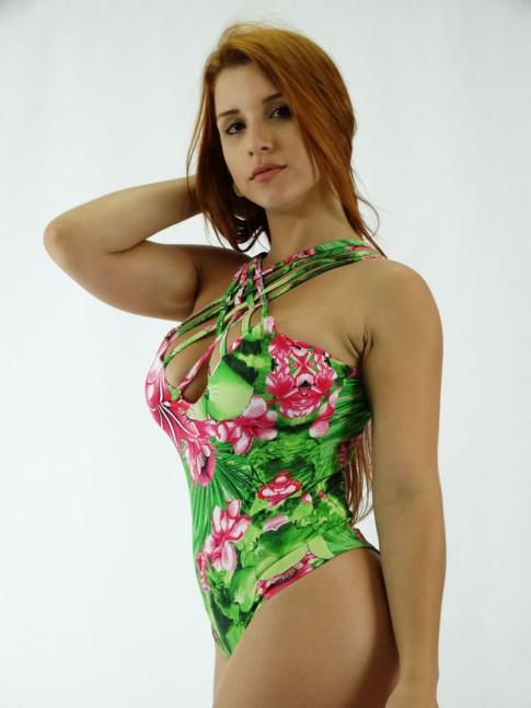 Body em Suplex alca com Tiras Verde Flores Rosas